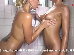 Hot Oil Massage, Than Cold Shower. CARO And Her Girlfriend
