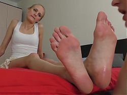 Female slave worships flip-flops, feet, soles & toes (2).