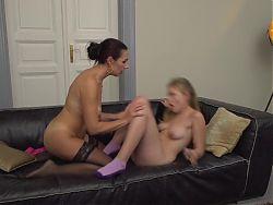 Lesbian MILF seduce cute teen girl