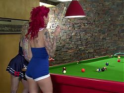 Tattooed billiard babes Becky Holt & Belle Black lick their